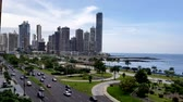 américa central : Panama city center skyline and bay of Panama. Stock Footage