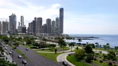street view : Panama city center skyline and bay of Panama. Stock Footage