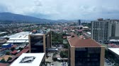 Costa Rica, San Jose capital city Street downtown with mountains in the back