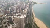 chicago : View of the city of Chicago and lake Michigan. Lake Michigan is one located entirely within the United States.