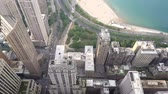 View of the city of Chicago and lake Michigan. Lake Michigan is one located entirely within the United States.
