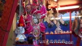 decor : Souvenirs at Christmas Fair in old town at evening in Riga, Latvia