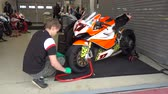 gp : MOSCOW - JUNE 5: Racing bike is prepared for the Race Cup Moscow Region Governor on June 5, 2016 in Moscow Raceway