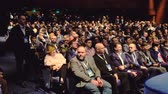 előadóterem : Moscow, Russia - March 27: Audience listens to the lecturer at the conference hal at Blockchain Congress 2018