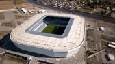 em desenvolvimento : Kaliningrad - Russia, May 20, 2018: Construction of a football stadium for Fifa World Cup 2018 is completed, aerial view