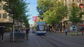 szwajcaria : Zurich, Switzerland - May 3, 2018: People and city transport at Bahnhofstrasse at the morning time Wideo