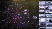 police officers : Moscow, Russia - February 9, 2018: Interactive map in the traffic monitoring center shows statistics of traffic accidents and violations of traffic rules