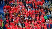 aplauso : Kaliningrad - Russia, June 22, 2018: Football fans support teams on the match between Serbia and Switzerland