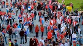 фест : Kaliningrad - Russia, May 22, 2018: Football fans attend stadion Kaliningrad before match between Serbia and Switzerland