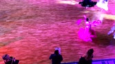 parke : Moscow - Russia, March 10, 2018: Girls wearing colourful dresses take part in dance competitions. Stok Video
