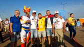 belçika : Kaliningrad - Russia, June 28, 2018: Football fans support teams on the street of the city on the day of the match between England and Belgium Stok Video