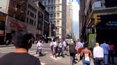 trafik : New York, USA - September 6, 2018: City life in Manhattan at day time Stok Video