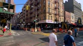 turyści : New York, USA - September 6, 2018: Panorama of China Town at day time