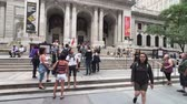 main street : New York, USA - September 6, 2018: People visit city public library at day time Stock Footage