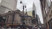 chrysler building : New York, USA - September 6, 2018: City life near Grand Central railway station in Manhattan downton Stock Footage