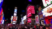 taksi : New York, USA - September 6, 2018: Time Square night time cityscape Stok Video