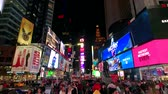 vezes : New York, USA - September 6, 2018: Time Square night time cityscape Stock Footage