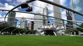őszinte : Chicago, USA - September 16, 2018: Panorama of Jay Pritzker Pavilion at day time Stock mozgókép