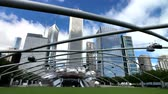 nowoczesny budynek : Chicago, USA - September 16, 2018: Panorama of Jay Pritzker Pavilion at day time Wideo