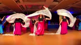 parke : Moscow - Russia, March 10, 2018: Mature women wearing colourful dresses take part in dance competitions. Stok Video