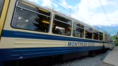 lokomotif : Rochers de Naye, Switzerland - July 19, 2018: Mountain train to Rochers de Naye, Switzerland Stok Video