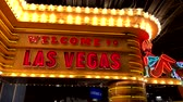 las vegas strip : Las Vegas, USA - September 10, 2018: Welcome neon sign at casino entrance Stock Footage