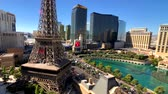 proužek : Las Vegas, USA - September 10, 2018: Eiffel tower at Paris casino aerial view from Ballys hotel at sunny morning