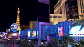 las vegas strip : Las Vegas, USA - September 10, 2018: Las Vegas boulevard at night Stock Footage