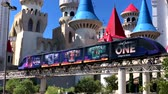 Las Vegas, USA - September 10, 2018: Shuttle tourist train riding on the background of Disney land