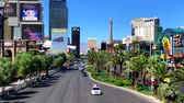 Las Vegas, USA - September 10, 2018: Las Vegas boulevard top view at sunny day time Стоковые видеозаписи