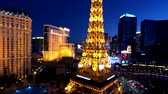 Las Vegas, USA - September 10, 2018: Eiffel tower at Paris casino aerial view from Ballys hotel at night
