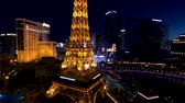 las : Las Vegas, USA - September 10, 2018: Eiffel tower at Paris casino aerial view from Ballys hotel at night