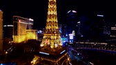 las vegas strip : Las Vegas, USA - September 10, 2018: Eiffel tower at Paris casino aerial view from Ballys hotel at night