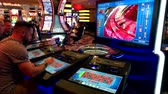 las : Las Vegas, USA - September 10, 2018: People are playing slot machines at MGM casino