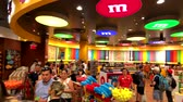 Las Vegas, USA - September 10, 2018: People attend M&MS World Candy Store at the Strip