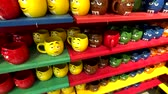 Las Vegas, USA - September 10, 2018: Funny cups for sell at M&MS World Candy Store at the Strip