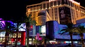 Las Vegas, USA - September 10, 2018: Strip landmarks at night time Wideo