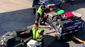 수하물 : Las Vegas, USA - September 10, 2018: Airport workers unloading luggage from the airplane