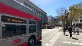 kablolar : San Francisco, USA - September 10, 2018: City traffic at downtown at sunny day time Stok Video