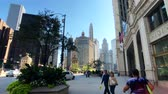 michigan : Chicago, USA - September 10, 2018: Downtown traffic and sights at sunny day time
