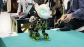 Skolkovo, Russia - April 16, 2019: Demonstration of unicorn robot prototype at robotics forum Stok Video