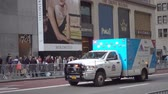service auto : New York, USA - September 6, 2018: Emergency medical service car is going at Manhattan downtown Filmati Stock