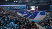 kongre : Saint Petersburg, Russia - October 4, 2019: Panorama of the business forum at the indoor stadium, timelapse