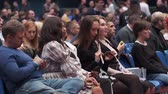 palestra : Saint Petersburg, Russia - October 4, 2019: Business conference attendees sit and listen to lecturer at large satdium