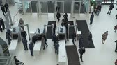 수하물 : Skolkovo, Russia - October 21, 2019: Security check of conference participants with x-ray luggage scanning, top view