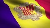 официальный : Flag of Andorra. Waving flag with highly detailed fabric texture seamless loopable video. Seamless loop with highly detailed fabric texture. Loop ready in 4K resolution Стоковые видеозаписи