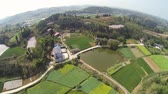 Aerial drone footage of a paddy field and large pond in a Chinese village Stock Footage