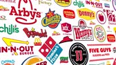 fabricação : Seamlessly loopable animation of a compilation of major food chain brands.  All logos and trademarks remain property of their respective owners.  Editorial only. Stock Footage