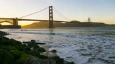 defne : Golden Gate Bridge sunset time lapse as the day turns to night. Stok Video