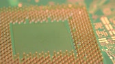 circuito : Close-up of cpu computer processor chip on electronic circuit board rotating on dolly. Vídeos
